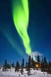 Aurora over Cabin in the White Mountain Recreation Area During Winter in Interior Alaska Photographic Print by  Design Pics Inc