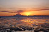 Ash Cloud Rises from Mt. Redoubt at Sunset During Low Tide Near Ninilchik, Alaska Photographic Print by  Design Pics Inc