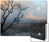 A Nearly Full Moon Sets over the Blue Ridge Mountains at Sunrise Poster by Amy & Al White & Petteway