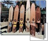 Women Pose in Front of their Surfboards on Waikiki Beach Prints by Richard Hewitt Stewart