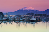 Alpenglow Sunrise on Mt. Edgecumbe and the Small Boat Harbor in Sitka, Alaska Fotografisk tryk af  Design Pics Inc