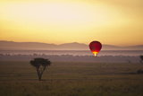 A Red Hot Air Balloon Takes Flight Against the Glowing Sky at Sunset; Masai Mara Kenya Fotografisk tryk af Design Pics Inc