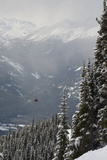 A Red Cable Car Riding over the Snow Covered Forest; Whistler British Columbia Canada Fotografie-Druck von  Design Pics Inc