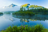 Summer Scenic of Mist over Moose Ponds and Explorer Glacier in Portage Valley, Alaska Photographic Print by  Design Pics Inc