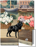 Schipperke Dog Guards Canal Boats in a Belgian Town Posters by Walter Weber