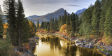 Composite Entitled 'River of Gold' Taken from a Bridge over the Icicle River Photographic Print by  Design Pics Inc