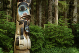 Closeup of Totem Pole Near Sitka Ak on Baranof Island, Tongass National Forest Southeast Summer Photographic Print by  Design Pics Inc