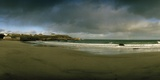 A Pristine Beach Near Port of Ness with a Rainbow in the Distance Photographic Print by Macduff Everton