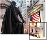 A bronze statue of George Washington and the New York Stock Exchange Art by  Unknown