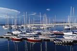 Sailboats Moored in Harbor Marina Fotografisk tryk af Design Pics Inc