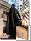 A bronze statue of George Washington and the New York Stock Exchange Print by  Unknown