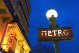 Detail of Maubert-Mutualite Metro Station and Cafe Signs at Dawn Photographic Print by  Design Pics Inc