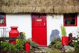 Traditional Irish Cottage with a Red Door and Red Decorative Items; Currabinny County Cork Ireland Photographic Print by  Design Pics Inc