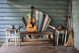 A 1931 Martin 0-28 Guitar Rests on a Re-Purposed Furniture Bench on a Front Porch Papier Photo par Amy White and Al Petteway