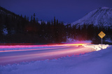 Car on Icy Road Evening Winter Southcentral Ak Reproduction photographique par  Design Pics Inc