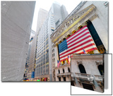 The facade of the New York Stock Exchange draped in the American Flag Posters by  Unknown