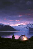 Kayaker Tent Camping at Dusk Pederson Glacier Kenai Fjords Np Kp Ak Photographic Print by  Design Pics Inc