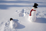 Snowmen in Forest Making Snow Angel Imprint in Snow in Late Afternoon Sunlight Alaska Winter Reproduction photographique par  Design Pics Inc