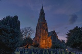 A Cemetery and Church Building Illuminated; Ambleside, Cumbria, England Photographic Print by  Design Pics Inc