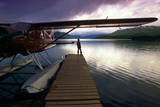Fisherman Chelatna Lake Lodge Floatplane Docked Alaska Range Interior Summer Scenic Photographic Print by  Design Pics Inc