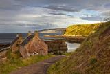 Houses at the Water's Edge and a Mooring Boat; Cove Lothian Scotland Lámina fotográfica por  Design Pics Inc
