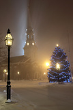 Holiday Decorations in Portsmouth, New Hampshire Light Up a Winter Night Photographic Print by Robbie George