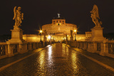 Night Lights of the Bridge across the Tiber River to Castel Sant'Angelo; Rome Lazio Italy Photographic Print by  Design Pics Inc