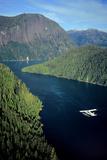 Aerial View of Float Plane Flying over Misty Fjords' *Punchbowl* in Southeast Alaska During Summer Fotografisk tryk af  Design Pics Inc