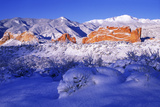 Garden of the Gods in the Snow at Sunrise Photographic Print by Keith Ladzinski