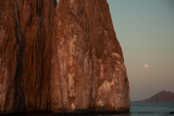 Moonrise Above Sleeping Lion Rock Off San Cristobal in the Galapagos Photographic Print by Karen Kasmauski