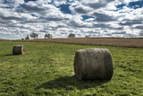 Hay Bales and a Corn Field under a Cloud-Filled Early Autumn Sky Photographic Print by Kent Kobersteen