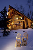 Lighted Cabin with Snowshoes in Front Utah - Nbrianhead Winter Photographic Print by  Design Pics Inc