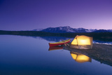 Lighted Tent and Canoe Byers Lake Tokosha Mts Sc Ak Evening Summer Photographic Print by  Design Pics Inc