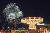 Calgary, Alberta, Canada; Midway Rides at Night with Fireworks at the Calgary Stampede Photographic Print by  Design Pics Inc