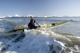 Man Paddles Kayak in Surf Kachemak Bay Homer Ak Kp Spring Photographic Print by  Design Pics Inc