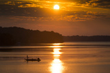 A Fisherman at Sunrise on the Occoquan River, Looking Toward Mason Neck Photographic Print by Kent Kobersteen