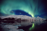 N. Lights over Portage Lake and Chugach Mtns Sc Ak Winter Photographic Print by  Design Pics Inc