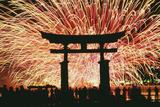 Summer Fireworks at Itsukushima Shrine Photographic Print by  Design Pics Inc