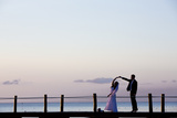 Newlyweds Practice for their First Dance after their Beach Wedding on the Island of Cozumel Reproduction photographique par Michael Lewis