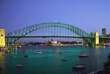 Sydney Harbour Bridge at Dusk with Opera House Behind Photographic Print by  Design Pics Inc