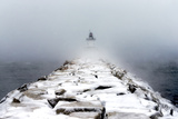 Sea Smoke Rises Up around Portland Breakwater Light on an Icy Winter's Day Photographic Print by Robbie George