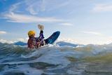 Man Kayak Surfing Waves on Katchemak Bay Near Homer Kenai Peninsula Alaska Autumn Photographic Print by  Design Pics Inc