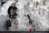 Kayaker Views Nugget Creek Falls Mendenhall Lake Se Ak Tongass Nf Summer Photographic Print by  Design Pics Inc