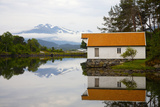 Open-Air Museum, Cottage Reflecting in Lake Photographic Print by  Design Pics Inc