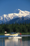 Man on Floatplane Ak Range Lake Spin Fishing Summer Ak Mt Mckinley Southside Southcentral Photographic Print by  Design Pics Inc