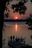 Residents Watch a Late Summer Sunset from their Dock on West Okoboji Lake Photographic Print by Kent Kobersteen