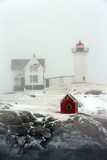 Maine's Nubble Lighthouse Shines on a Cold Winter's Day Photographic Print by Robbie George