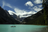Canoeing in Lake Louise, Banff National Park Photographic Print by Keith Ladzinski