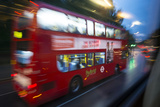 In 2013, a Double-Decker City Bus Speeds Through London at Dawn Photographic Print by Michael Melford