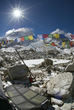 Solar Panels Absorb the Sun at the Mount Everest Base Camp Photographic Print by Pete McBride
